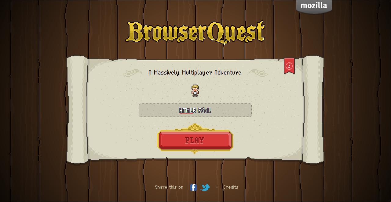 BrowserQuest un juego de aventura realizado por Mozilla, desarrollado en HTML5 y JavaScript