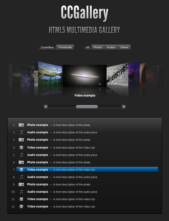 WP CCGallery. Galeria multimedia basada en HTML5