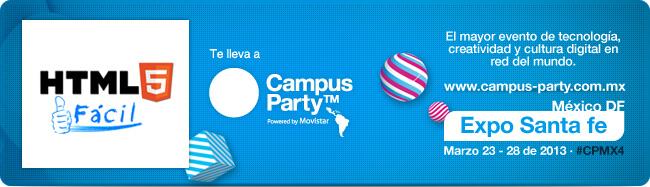Ganadores de entradas gratis: HTML5 Fácil te lleva a Campus Party México 4